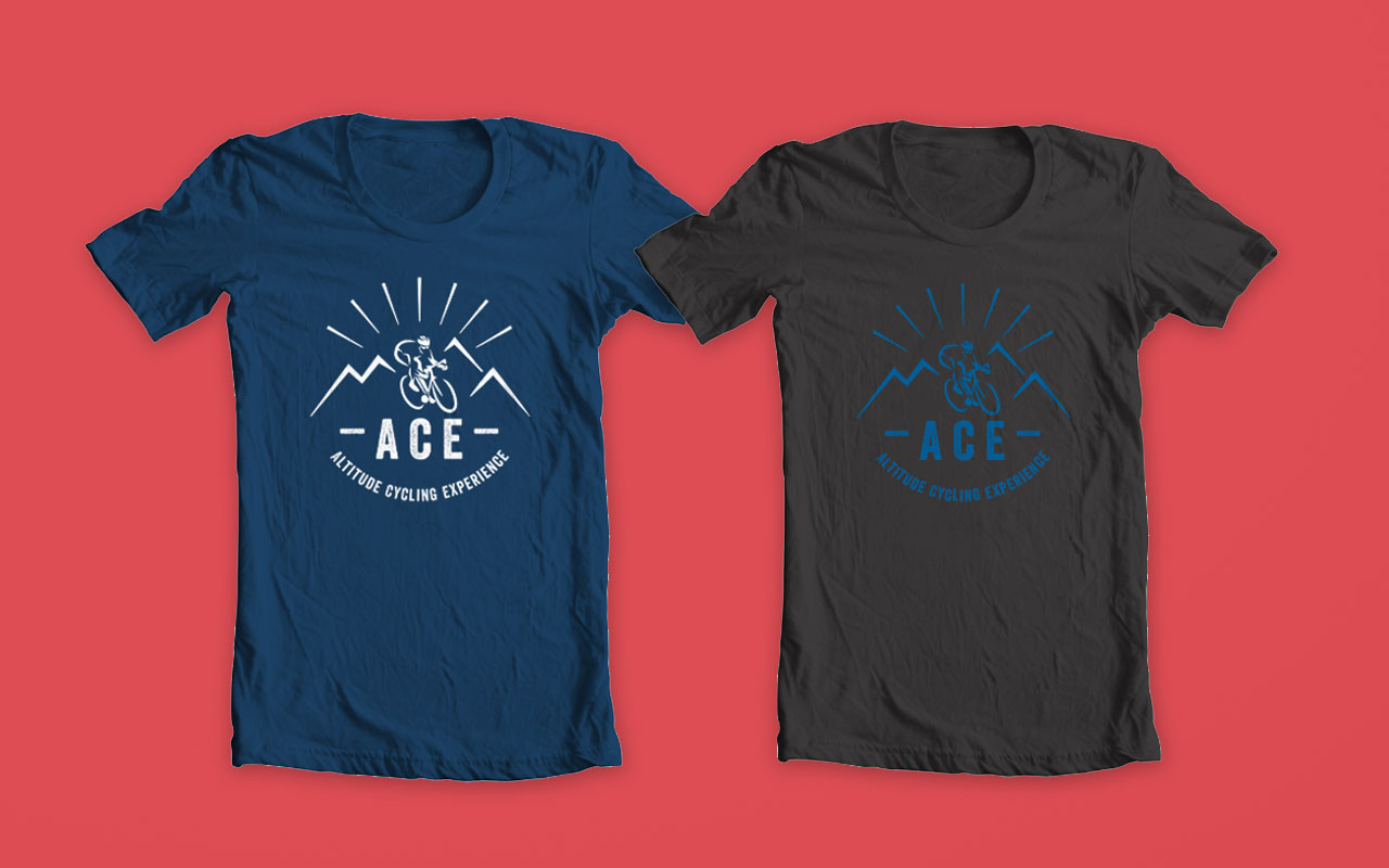 A.C.E. T-shirt white on blue and blue on black