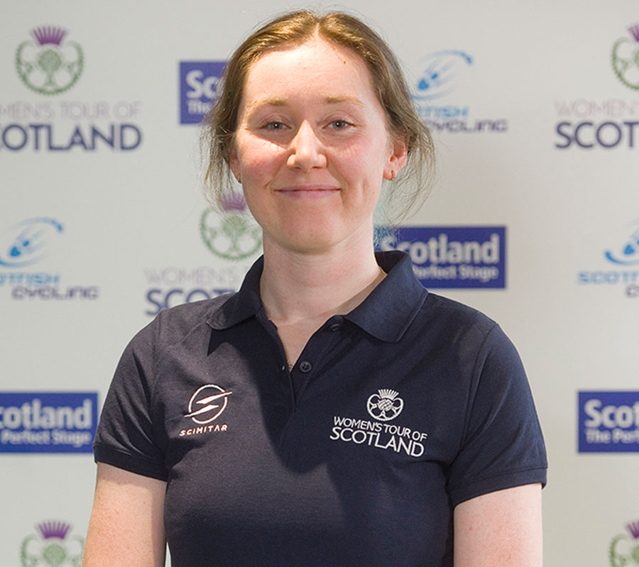 Katie Archibald wearing WToS branded polo shirt
