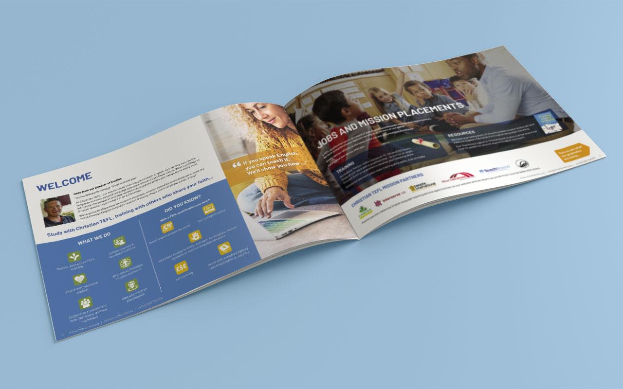 Online learning brochure inside spread