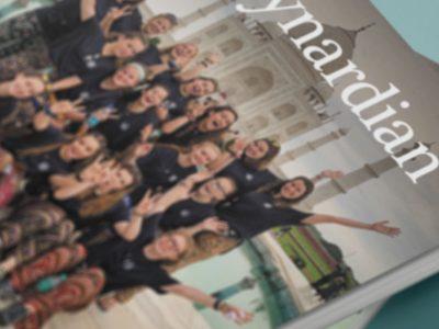 School magazine cover close-up