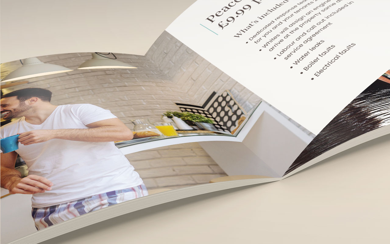 Property management brochure page close-up