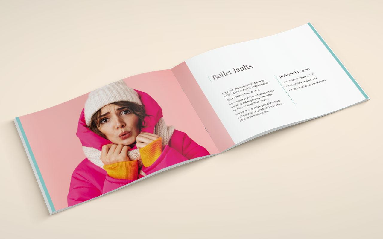 Property management brochure inside spread